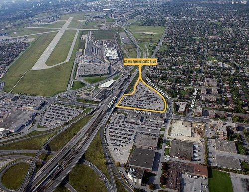 Context image of 50 Wilson Heights Boulevard with the proposed site outlined in yellow