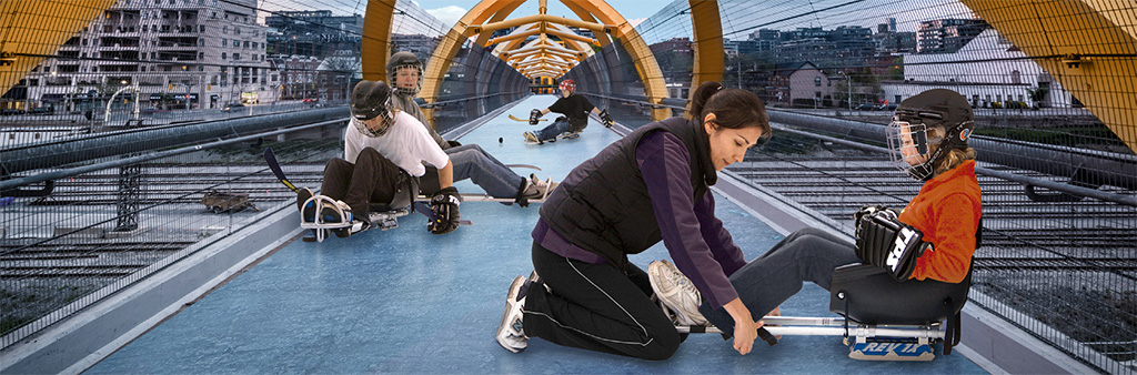 Composite image of children trying out sledge equipment superimposed on the Puente de Luz, the pedestrian bridge crossing the railway corridor south of Front Street. Image taken from the City of Toronto Sport Plan.