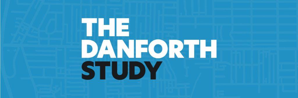The Danforth Study banner image shown with line-art of map behind the branded logo