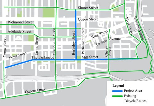 Map of St. Lawrence Distillery Cycling Connections project indicating local existing cycling network and project study area.