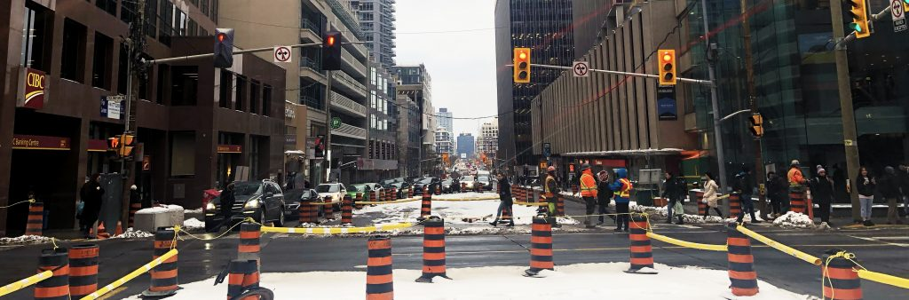 Corner of Eglinton and Yonge, showing Construction Activity