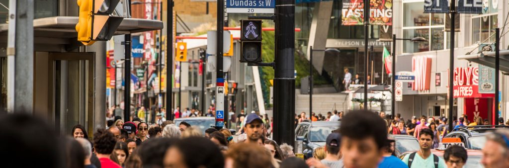 Crowds of people near Yonge-Dundas Square