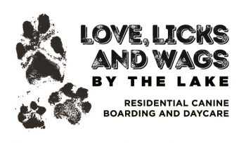Love, Licks and Wags by the lake - residential canine boarding and day care - logo. Image of pawprints