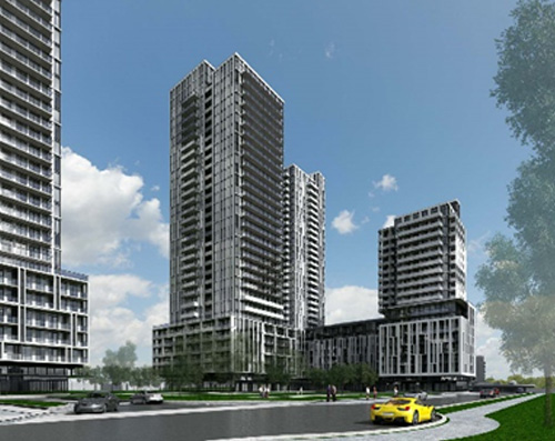 Rendering of condominium building for the 1200-1210-1220 Sheppard Avenue East (1st Review) site plan