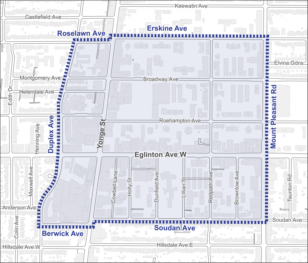 The boundaries of the Yonge and Eglington Construction Hub are Roselawn/Erskine Avenue to the north, Mount Pleasant Road to the east, Soudan/Berwick Avenue to the south, and Duplex Avenue to the west.