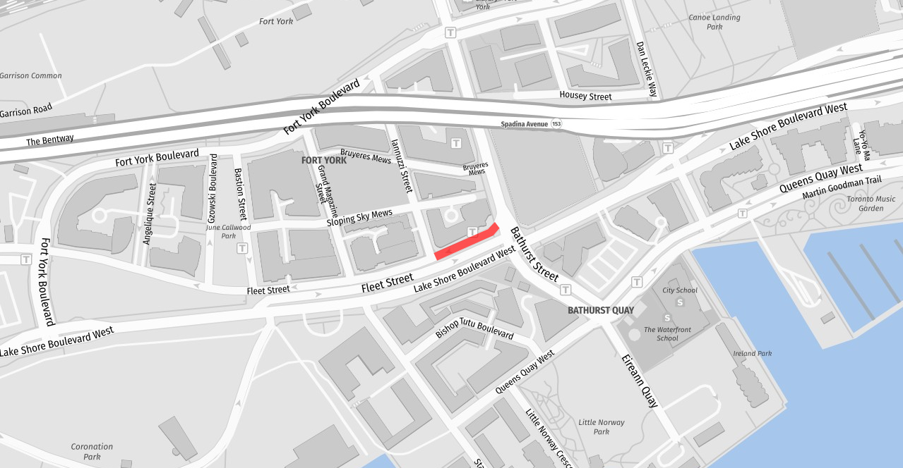Map of permanent closure on westbound Fleet Street between Bathurst Street and Iannuzzi Street