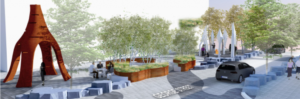 artist rendering of the potential streetscape on George St.