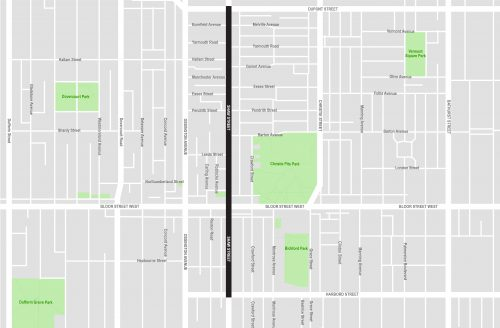 map showing the project study area from Dupont Street to Harbord Street