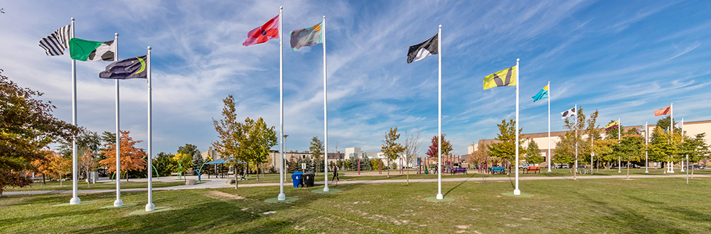 12 flag poles on a park field comprise a public art work by artist John Thorpe