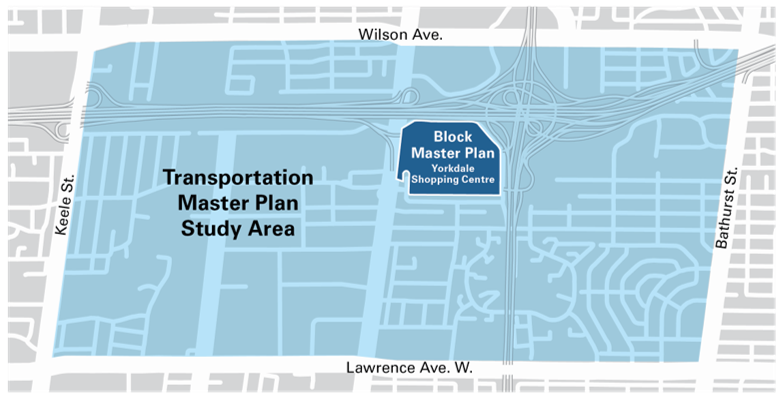 Transportation Master Plan Study Area - between wilson ave., keele street, lawrence ave. west and bathurst street. Block Master plan area is yorkdale mall
