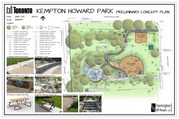 Preliminary concept plan illustrating proposed improvements for the north area of the park. Image also includes a legend and photos of proposed features.