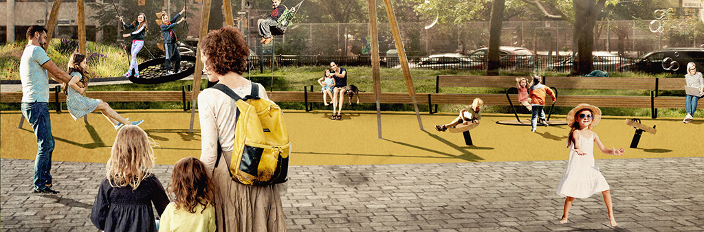A project rendering featuring people swinging on swings, children with their parents, and those relaxing in the park