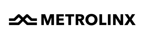 Metrolinx Logo: Image of 2 tracks in the shape of an 'M' with the word Metrolinx beside it