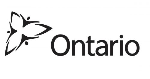 Ontario logo, black and white with a trillium to the left and the word Ontario beside it