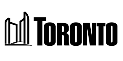 City of Toronto Logo: image of City Hall to the left (in simple line art), and the word Toronto to the right