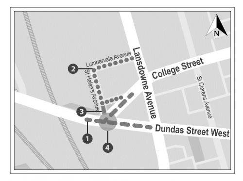 Map of project area showing planned street car track replacement at the intersection of College Street and Dundas Street West, planned road reconstruction on Lumbervale Avenue, St. Helens Avenue and College Avenue north segment, proposed closure of sement of St. Helens Avenue at College Street, and proposed signalized intersection at College Street and Dundas Street West.
