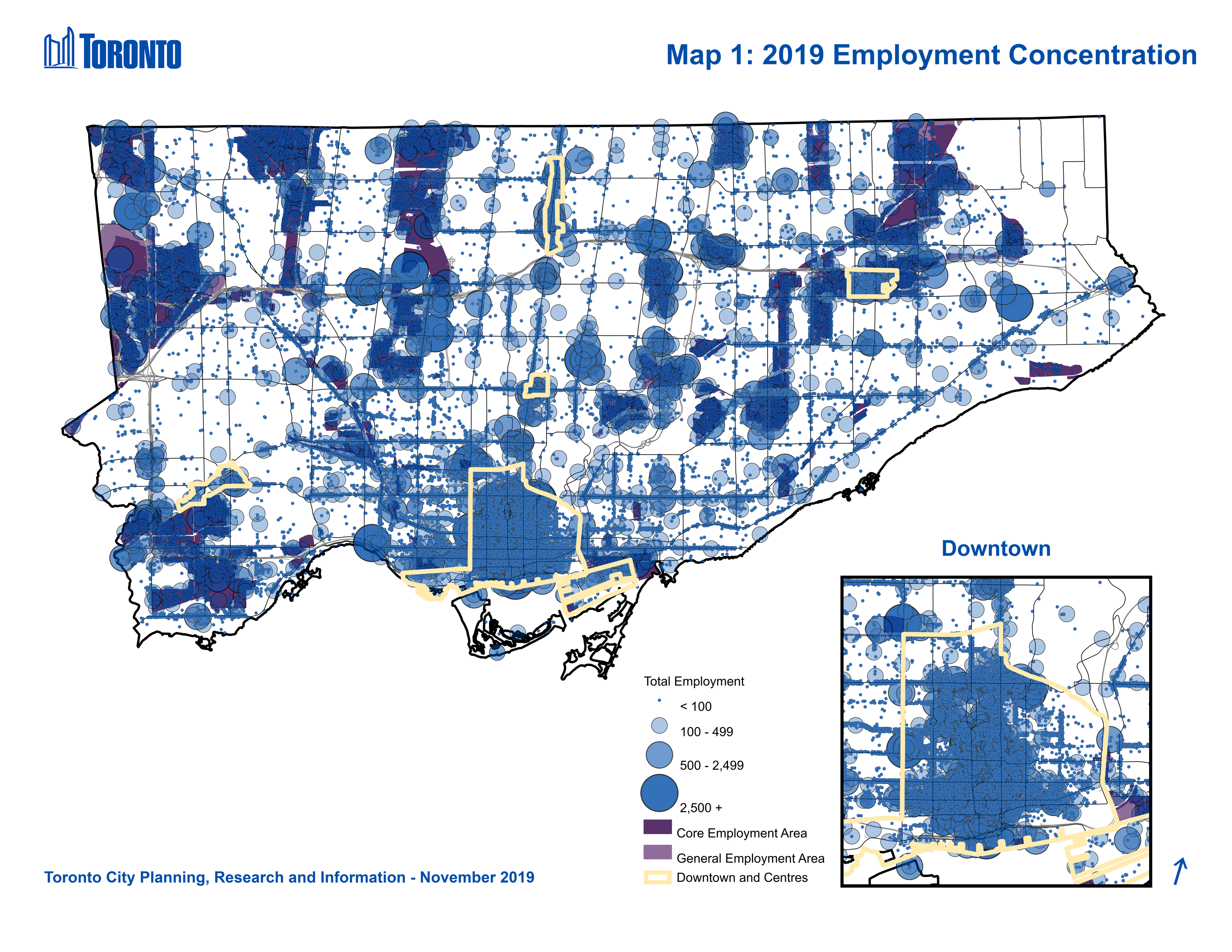Map 1: Employment Concentrations, City of Toronto. This map shows locations of all establishments in the city, with graduated symbols for establishments (1) having less than 100 employees, (2) having between 100 and 499 employees (3) having between 500 and 2,499 employees and (4) having over 2,500 employees.