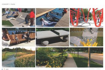 Image examples of individual park features proposed in Concept 1: Plaza Plan.