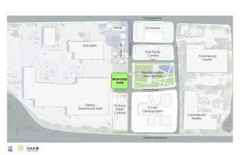 Context plan image showing the location of the proposed park at the intersection of Caven Street and Zorra Street, across from the existing Senator Marian Maloney Park.