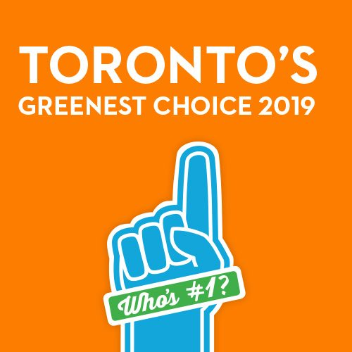 Toronto's Greenest Choice on an orange background and blue hand with text: Who's number 1?