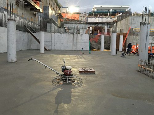 Concrete work being done on a low level of the parking garage at Bessarion Community Centre.