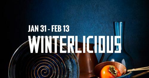 Winterlicious wordmark- dark blue background, bowl, vase, pitcher, pot with tomato.