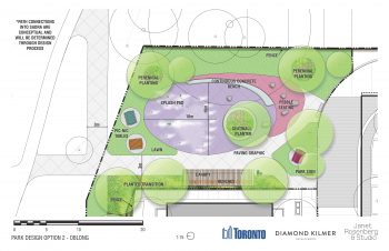"SADRA Park Design Option 2: includes an ""oblong"" shaped splash pad as main attraction at 15 metres length and 10 metres width. It has a continuous concrete seatwall bench, pebble seating and feature paving patterns at south-east corner. At the east side of the splash pad is a canopy with benches adjacent to water filling station. There will be a picnic bench and table sets, park signs and perennial planting at lawn areas around the park."