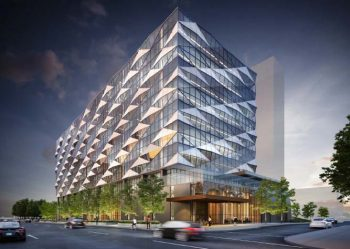 Context image of 844 Don Mills Road proposes office and retail uses building.