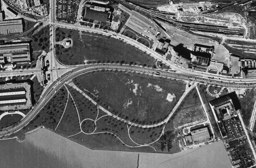 A black and white aerial photo of Coronation Park in 1956.