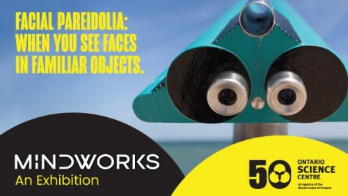 Exhibition poster. Robot face, with Mindworks title.
