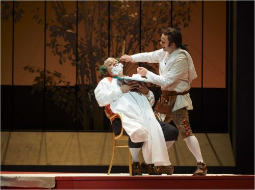 Scene from The Barber of Seville. Barber shaving another performed sitting in chair.