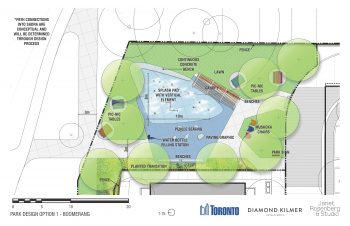 Park Design Option 1: includes a splash pad as main attraction at 10 metres length and 8 metres width. It has a boomerang shaped continuous concrete seatwall bench at north-east corner. At the south-east side of the splash pad is a canopy with benches. There will be a picnic bench and table sets, Muskoka chairs and park signs at lawn areas. In addition, water filling station will be provided located at the west side of the splash pad area. Lastly, benches, pebble seating and feature paving will be located at the west side of the park adjacent the Habitat for Humanity building.