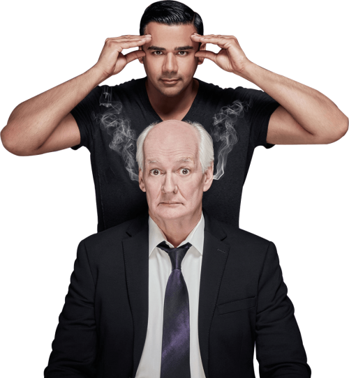Perfromers. Colin Mochrie (seated) and Asad Mecci (standing behind - hands on his temples)