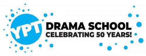 Wordmark. YPT Drama School. Turquoise and black font.