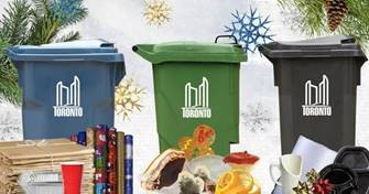 Holiday themed Blue Bin, Green Bin & Black Bin. Image depicts what type of waste should go where.
