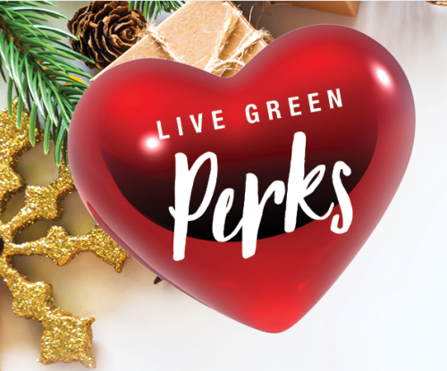 Heart ornament with words Live Green Perks