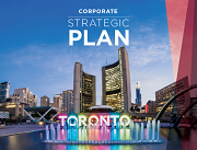 View of City Hall with water fall and Toronto sign in front. Corporate Strategic Plan title overlaid on top of image.