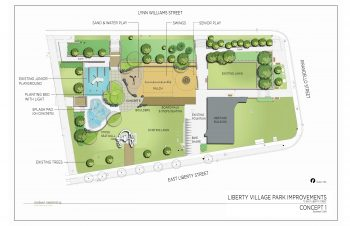 Concept 1 site plan drawing showing existing and proposed features and amenities of Liberty Village Park.