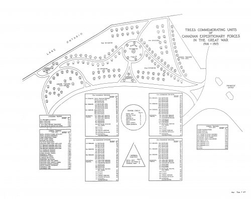 A drawing showing the original design of the park, made in the 1930s.