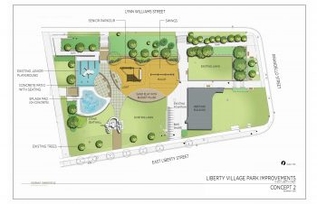 Concept 2 site plan drawing showing existing and proposed features and amenities of Liberty Village Park.