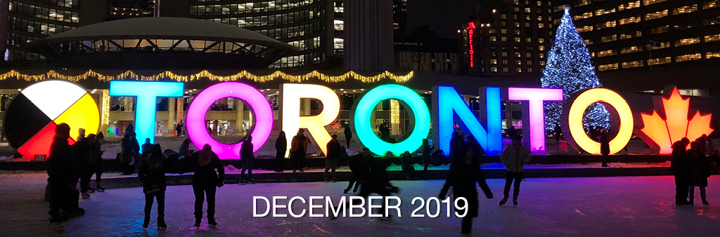 People skating at night with the Toronto sign and Christmas tree lit up.