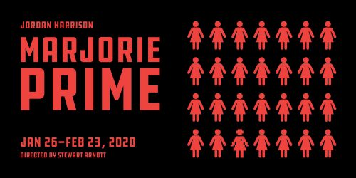 Show poster. Illustration - red font on black background on left. On right, rose of female figures.
