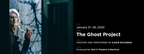 Show poster from The Ghost Project. Black sidebar to right, shadowy image of woman to the left.