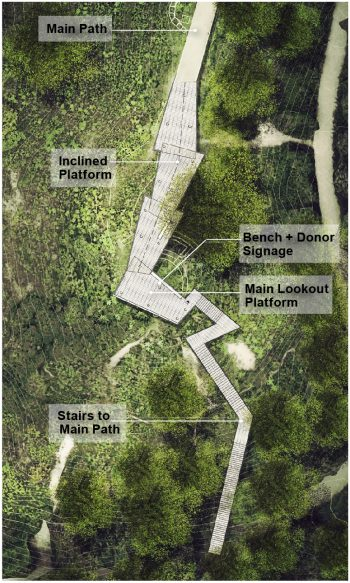 Artist rendering showing an aerial view of the proposed lookout. An inclined platform leads from the main path to the main lookout platform. The lookout platform has a seating bench and donor signage. On the opposite side of the platform is a set of stairs leading down to another part of the main path.