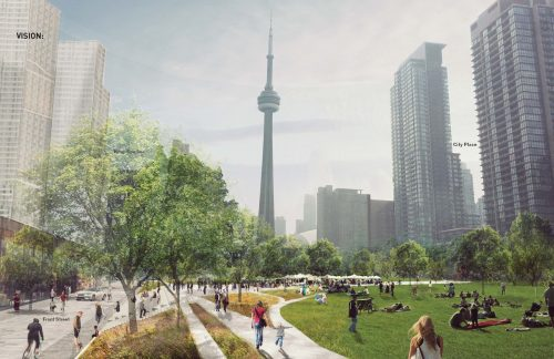 Artist rendering of Rail Deck Park, looking east along Front Street towards Spadina Avenue, with the portion of the park extending to Blue Jays Way in the distance.