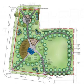 Aerial drawing showing new Dane Park layout. A paved path travelling south from Dane Avenue through a circular area with planting beds and seating area. Further south along the path is a new playground and shaded seating area. 3 other paths meet at the shaded structure. two of the paths circle around the open field to the east of the shade structure meeting at the east entrance to the Park