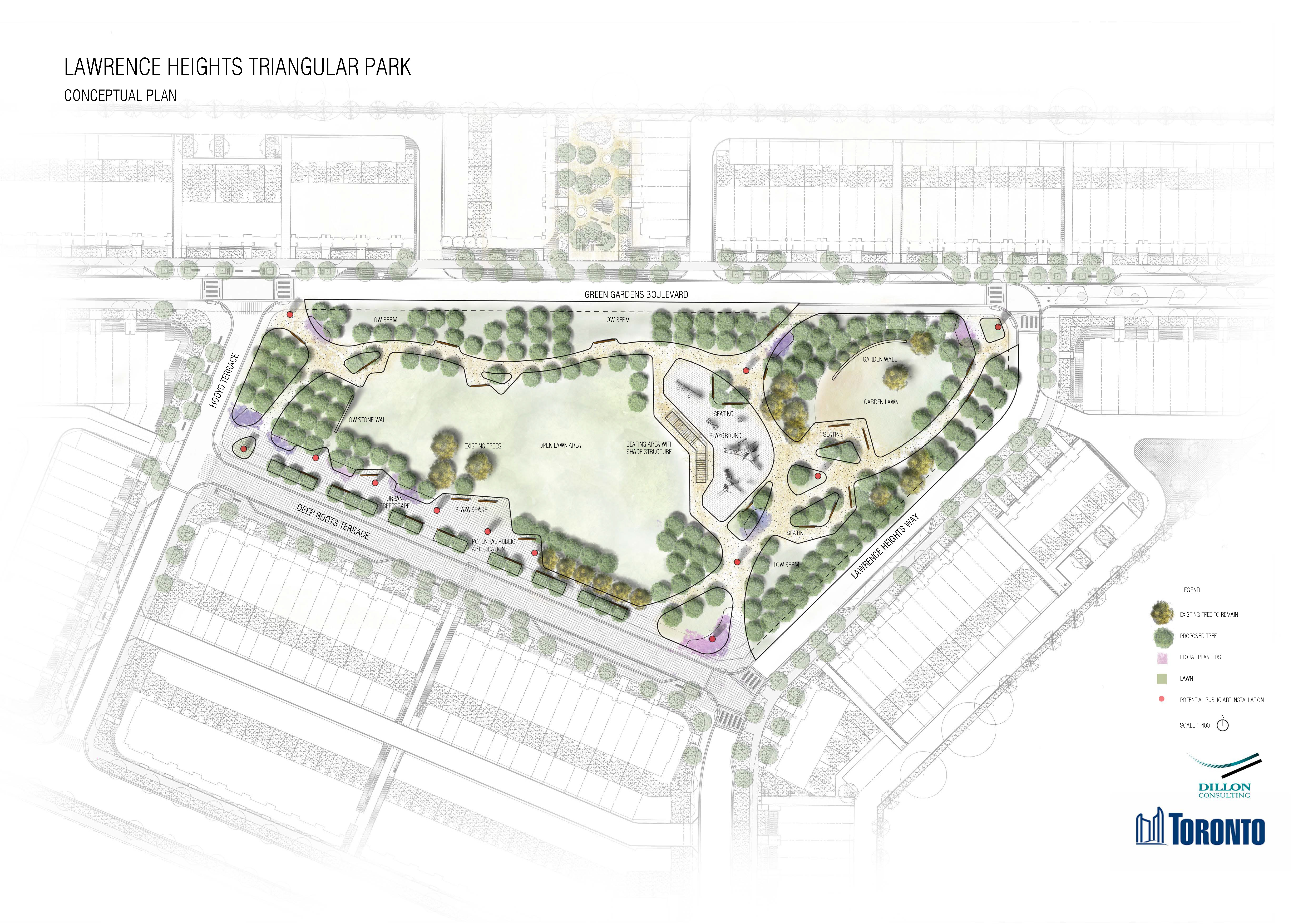 The map shows an illustration of Triangular Park from an aerial view. The park is bordered by Green Gardens Boulevard, Lawrence Heights Way, Deep Roots Terrace and Hooyo Terrace. The concept map shows park entrances at all four corners of the park with pathways connecting the entrances at a central point in the park that includes a playground, seating and shade structure. The north east corner of the park features a garden with a garden wall, and the west side of the park features an open green space. Trees, shrubs and other plantings border the park on all sides.