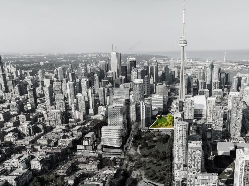 Looking east along Front Street towards Spadina showing the area of Rail Deck Park that is the subject of a report going to Executive Committee January 23, 2020.