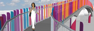 A concept rendering by Artist Vicki Scouri for bridge art at N 102 St New York