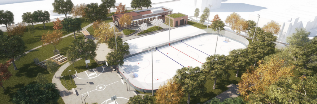 Artist rendering of the new facilities proposed for the northwest corner of Dufferin Grove Park. Park features include: clubhouse, outdoor ice rinks and basketball court.